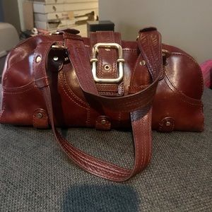 Perlina vintage satchel leather purse cordovan